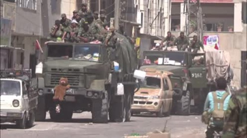 Các đơn vị quân đội Syria tiến công về biên giới Jordan. Anh minh họa Masdar News