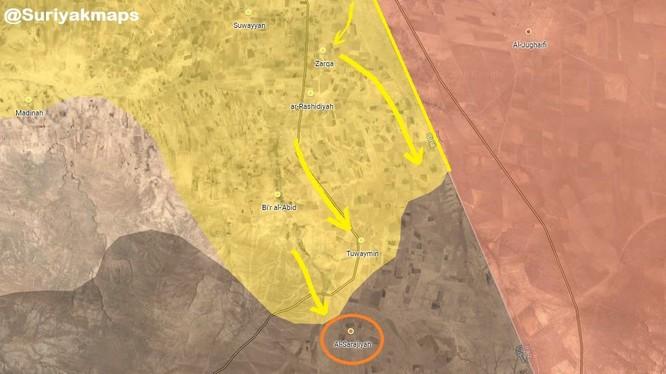 Bản đồ các hướng tấn công chính của lực lượng SDF trên chiến trường phía nam Syria. Ảnh South Front