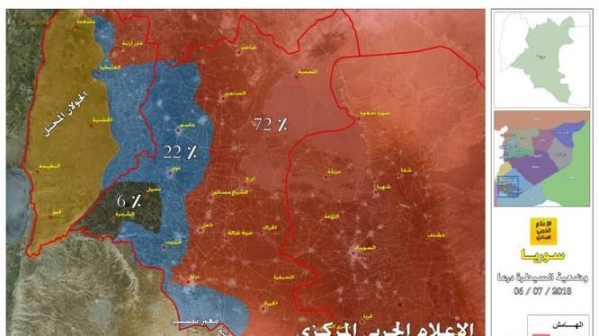 Tỉnh hình chiến sự khu vực Daraa tính đến ngày 07.07.2018. Ảnh truyền thông Hezbollah