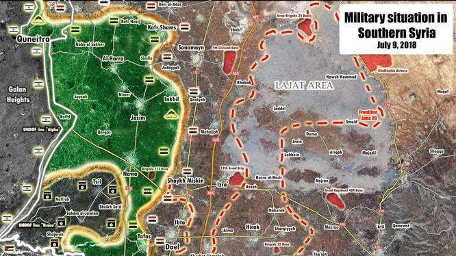 Bản đồ tình hình chiến sự tỉnh Daraa tính đến ngày 09.07.2018 theo South Front