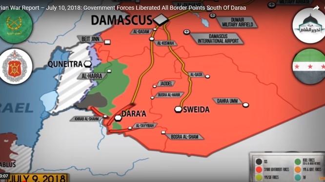 Quân đội Syria giải phóng toàn bộ tuyến biên giới tình Daraa với Jorrdan. Ảnh video SouFront