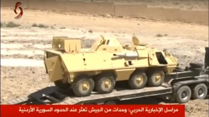 Xe thiết giáp của khối NATO bị thu chiến lợi phẩm ở Syria. ảnh minh họa video Alikhbaria Syria
