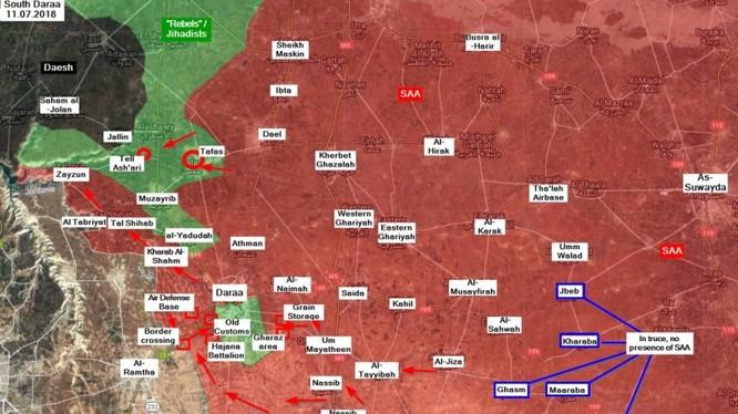 Chiến trường thành phố Daraa tính đễn ngayf 12.07.2018 theo Masdar News