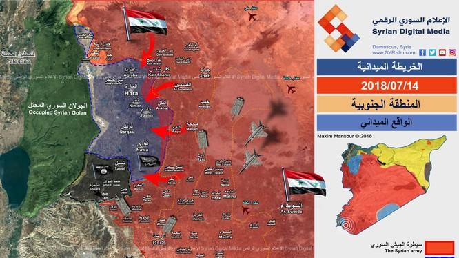 Chiến trường Daraa ngày 14,07.2018 theo Syria Digital Međia