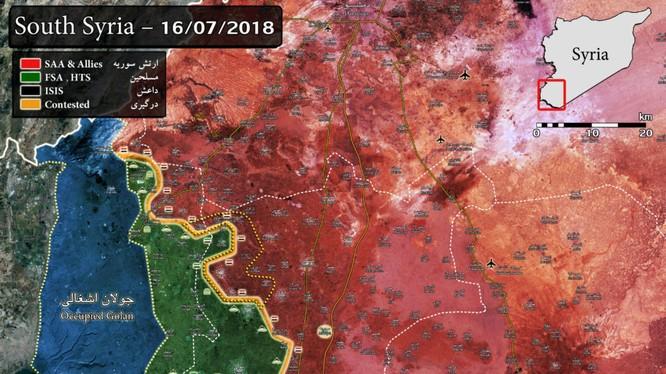 Chiến tuyến Daraa tính đến ngày 16.07.2018, lực lượng Hồi giáo cực đoan tháo chạy về tỉnh AlQunetra. Ảnh minh họa Masdar News