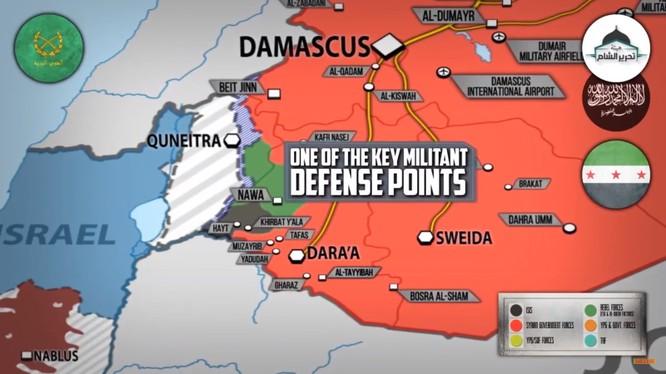 Tình hình chiến sự Daraa - Qunetra, còn một cứ chiểm chiếm lược cuối cùng ở Qunetra. Anhe video