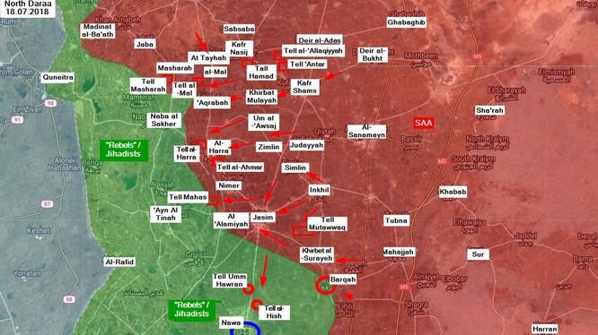 Các mũi tiến công của quân đội Syria trên chiến trường Daraa. Ảnh minh họa SouthFront