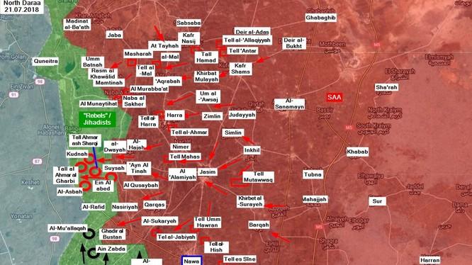 Các mũi tiến công của quân đội Syria và IS trên chiến trường tỉnh Al-Quneitra. Ảnh South Front