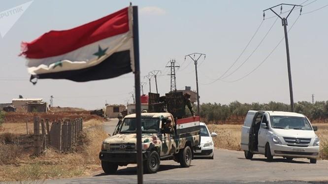 Quân đội Syria tiến vào giải phóng thành phố Nawa ở Daraa. Ành minh họa Masdar News