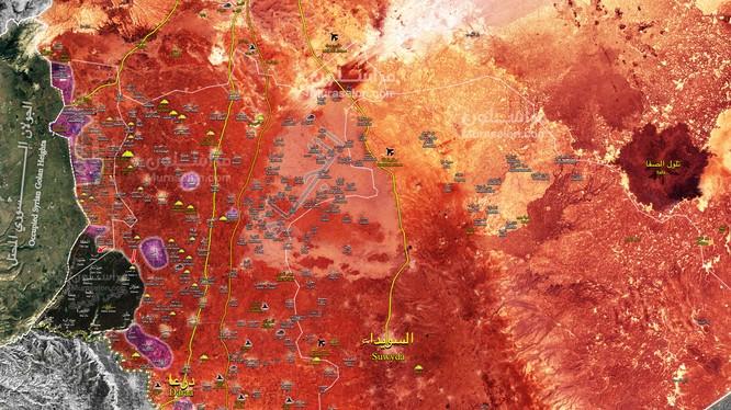 Toàn cảnh chiến trường Daraa tính đến ngày 23.07.2018 theo Muraselon