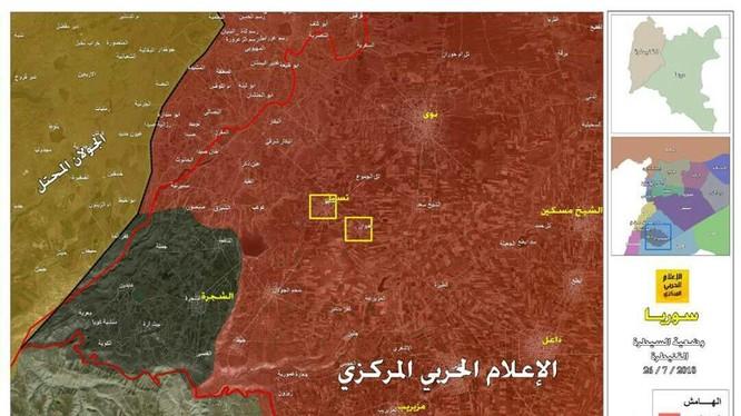 Chiến tuyến quân đội Syria và những địa danh chiến lược vừa giải phóng. Ảnh Hezbollah Syria