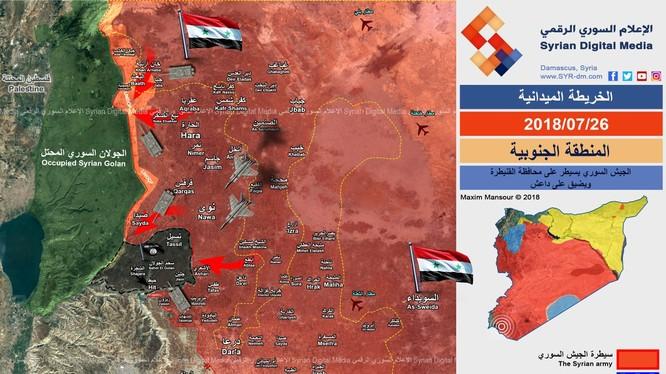 Toàn cảnh chiến trường Daraa, khu vực IS ngày 26.07.2018 theo Syrian Media