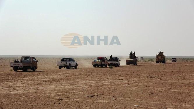 Đoàn xe lực lượng SDF hành quân trên chiến trường sa mạc phía đông Deir Ezzor. Ảnh video