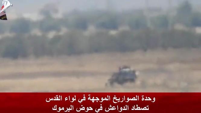 Quân tình nguyện Palestine NDF tiêu diệt xe cơ giới của IS trên thung lũng Yarmouk. Ảnh minh họa video NDF