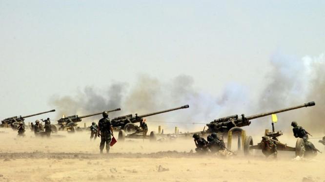 Pháo binh Syria bắn phá dữ đội chiến tuyến lực lượng Hồi giáo cực đoan ở Idlib, Hama. Ảnh minh họa South Front