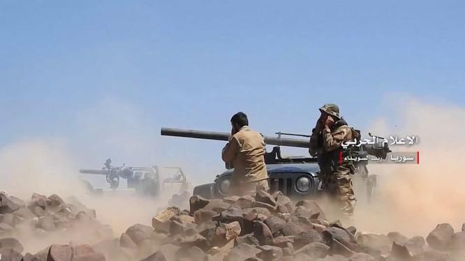 Các đơn vị quân đội Syria bắt đầu cuộc tấn công IS trên hẻm núi Sweida. Ảnh minh họa Masdar News