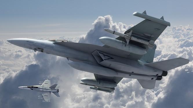 Hệ thống tác chiến điện từ kỹ thuật số NGJ (Next Generation Jammer) trên máy bay F/A-18 sẽ sẵn sàng vào năm 2022. Ảnh minh họa Breaking Defense.