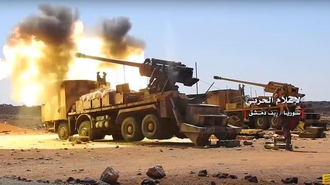 Pháo binh quân đội Syria dội bão lửa ở Sweida. Ảnh minh họa Masdar News