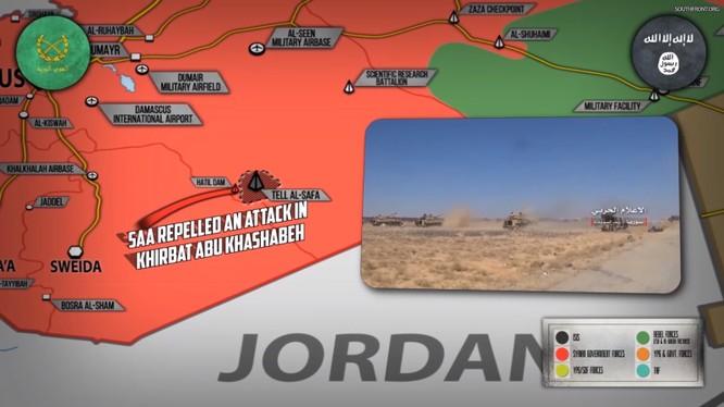 Quân đội Syria tiến công trong hẻm núi Al-Safa, Sweida. Ảnh minh họa South Front