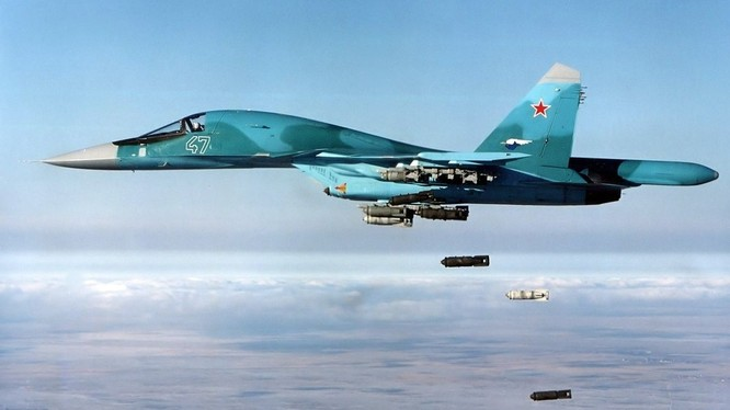 Máy bay ném bom Nga Su-34 không kích. Ảnh minh họa Masdar News