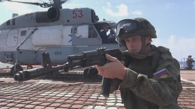 Lực lượng hải quân đánh bộ Nga diễn tập trên biển Địa Trung Hải. Ảnh minh họa Masdar News