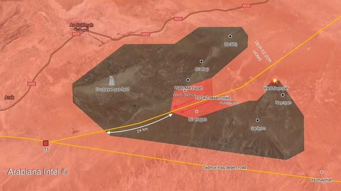 bản đồ chiến dịch tấn công giải phóng vùng sa mạc Homs - DeirEzzor