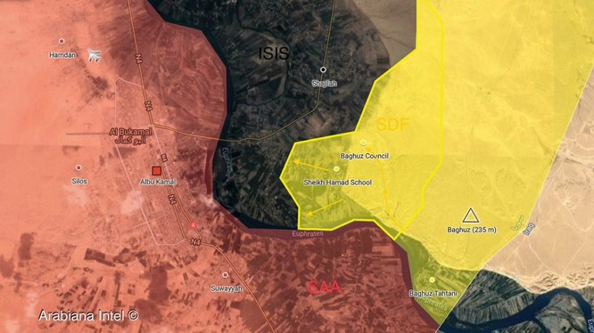 Lực lượng Dân chủ Syria (SDF) tiến công chiến tuyến IS ngoại vi Hajin, thung lũng Euphrates.Ảnh South Front