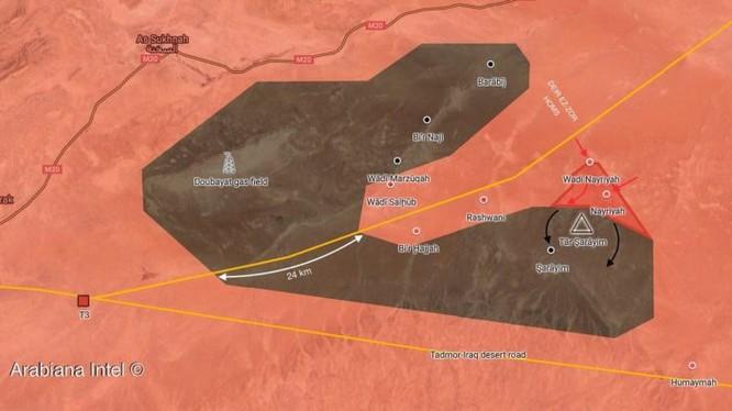 Bản đồ tình hình chiến sự sa mạc tỉnh Homs - Deir Ezzor. Ảnh minh họa South Front