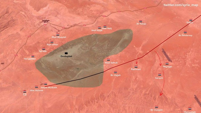 Bản đồ tình hình chiến sự khu vực sa mạc Homs - Deir Ezzor. Ảnh minh họa twitter.com/syria_map