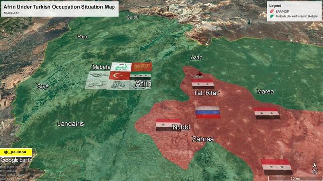 Bàn đồ khu vực Afrin, bị FSA và quân đội Thổ Nhĩ Kỳ chiếm đóng dưới danh nghĩa diệt YPG. Ảnh minh họa Masdar News