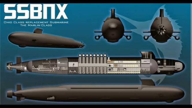 Tàu ngầm nguyên tử thế hệ mới của hải quân Mỹ SSBN-X Future Follow-on Submarine) ảnh minh họa General Dynamics