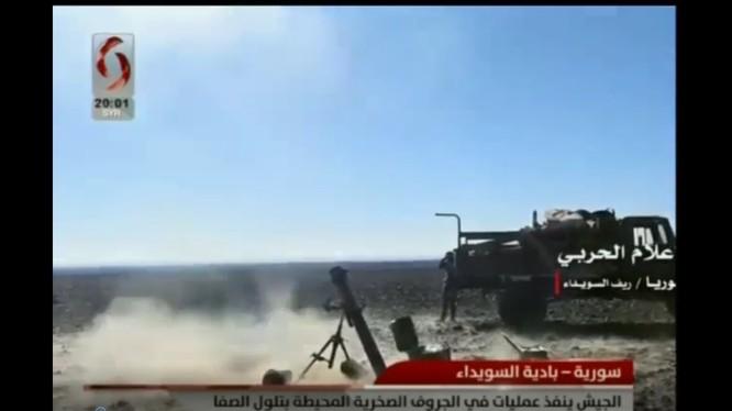 Các đơn vị quân đội Syria tấn công trên chiến trường Sweida. Ảnh minh họa video syria alikhbaria