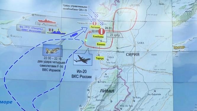 Bản đồ tình huống không kích của tốp máy bay Israel. Ảnh Bộ Quốc phòng Nga.