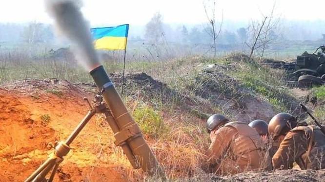 Một khẩu đội súng cối của quân đội Ukraina trên tuyến giáp ranh Donesk. Ảnh minh họa Rusvesna