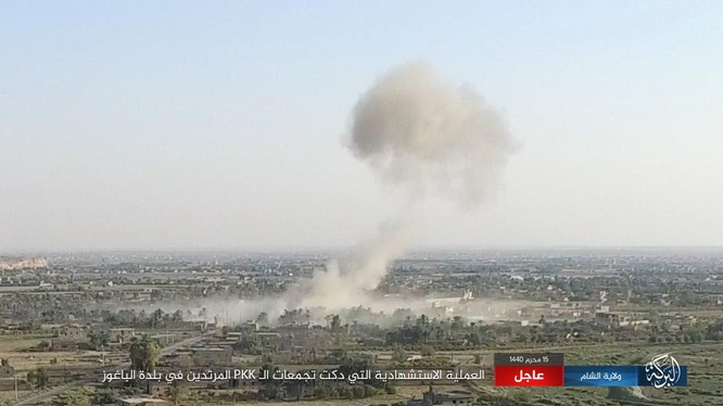 Lực lượng không quân liên minh quân sự do Mỹ dẫn đầu dội bom chiến tuyến IS ở thung lũng Euphrates. Ảnh minh họa South Front