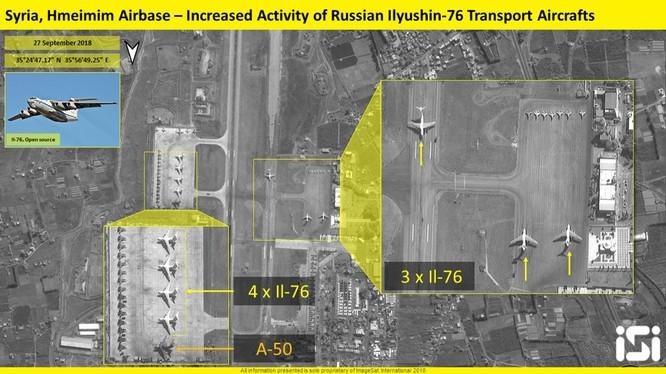 Bức ảnh vệ tinh ISI ghi lại cảnh các máy bay quân sự Nga trên căn cứ Hmeimim,Latakia