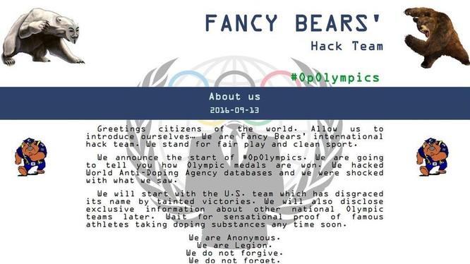 Biểu tượng trang web của nhóm hacker Fancy Bear. Ảnh BBC