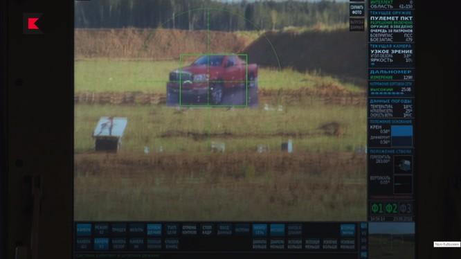 Màn hình điều khiển của mô-đun vũ khí có trí tuệ nhân tạo AI của Kalashnikov. Ảnh minh họa video