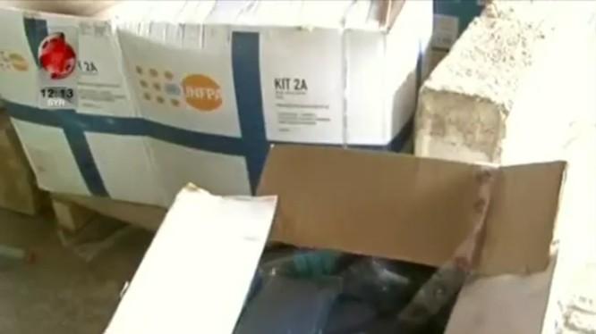 Kho vật tư y tế, có nguồn gốc tù israel được quân đội Syria thu giữ trong tỉnh Quneitra. Ảnh minh họa video Al-Ikhbariyah Syria