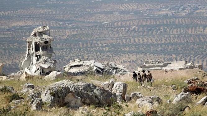 Vùng phi quân sự theo thỏa thuận ở Idlib, nơi thường xuyên diễn ra các cuộc pháo kích của lực lượng thánh chiến. Ảnh: Masdar News.