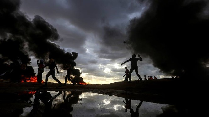 Người Palestine biểu tình trên dải Gaza, chống Israel. Ảnh minh họa: South Front.