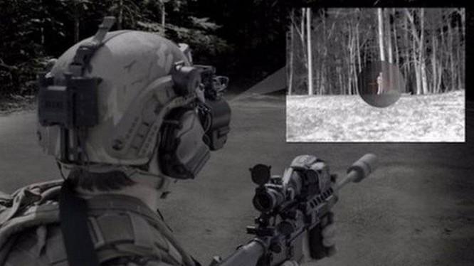 Binh sĩ Mỹ sử dụng thử nghiệm kính nhìn đêm Goggle III tích hợp với kính ngắm. Ảnh minh họa: Bae Systems.