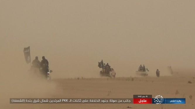 Lực lượng khủng bố IS, lợi dụng thời tiết xấu tiến hành cuộc tấn công vào chiến tuyến SDF. Ảnh minh họa: Amaq.