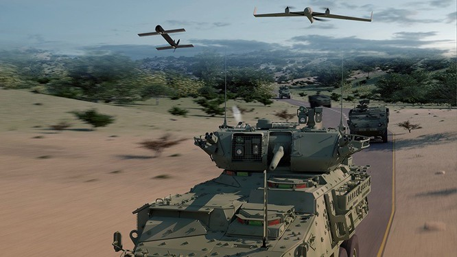 Xe thiết giáp Stryker của tập đoàn General Dynamics, phối kết hợp với drone trinh sát và tên lửa hành trình tự sát. Ảnh minh họa: Popular Mechanic.