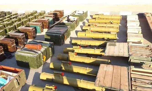 Một số vũ khí thu giữ được của quân đội Syria ở Hama. Idlib. Ảnh: SANA.