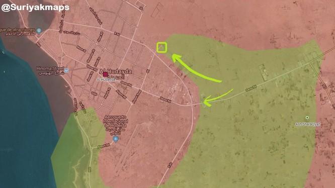 Các mũi tiến công của Ả rập Xê-út vào thành phố cảng al-Hudaydah của Yemen. Ảnh: South Front.