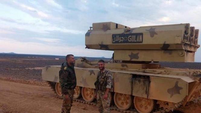 Tổ hợp tên lửa mặt đất Golan - 1000 thuộc đơn vị pháo binh - tên lửa sư đoàn cơ giới số 4. Ảnh minh họa: Masdar News.