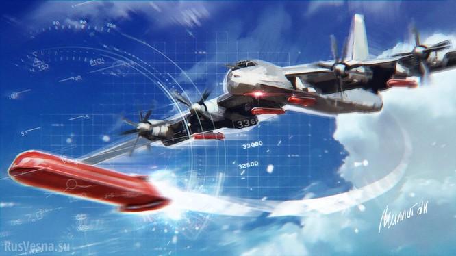 Tên lửa hành trình chiến lược phóng từ trên không Kh-101 và máy bay ném bom chiến lực Tu-95MS. Ảnh: Rusvesna.