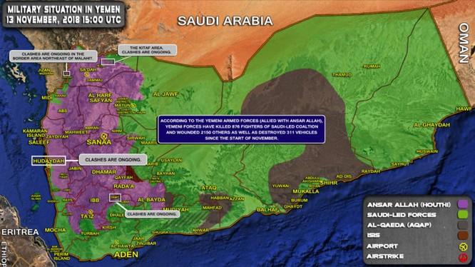 Tình hình chiến sự Yemen tính đến ngày 13.11.2018 theo South Front
