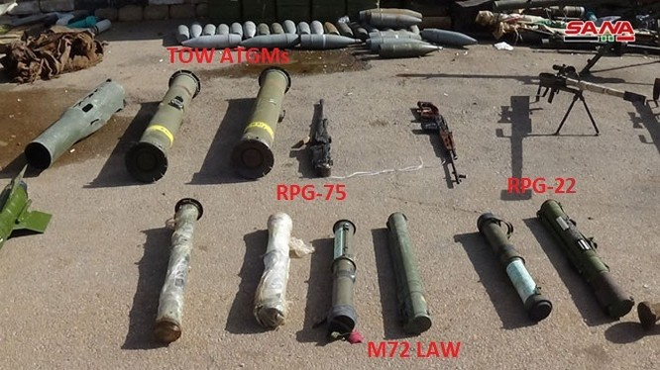 Một số vũ khí thu được ở tỉnh Daraa. Ảnh: SANA.